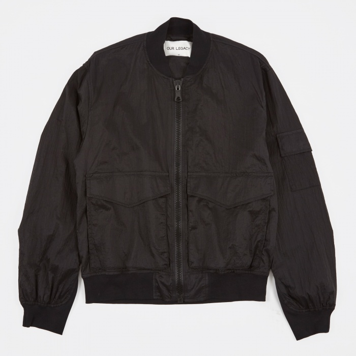 Our Legacy Patch Pocket Bomber Jacket - Parachute Black (Image 1)