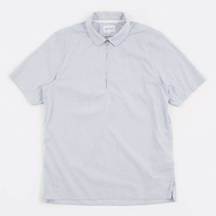 Norse Projects Theo Compact Poplin SS Shirt - Fine Stripe (Image 1)