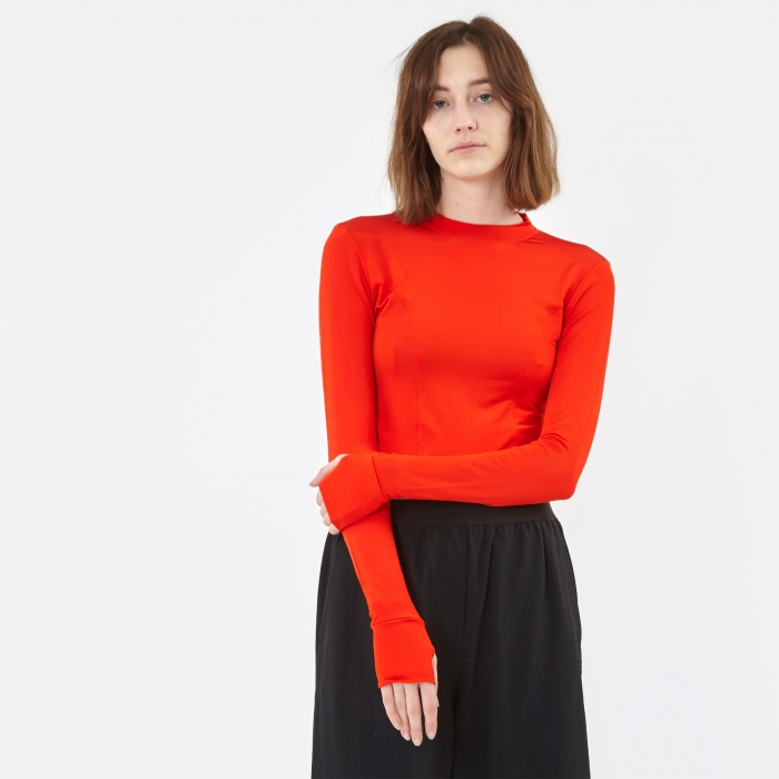 Ganni Montmartre Top - Fiery Red (Image 1)