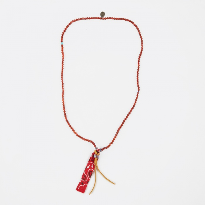 Mikia Beaded Necklace Suede/Bandanaa - Coral (Image 1)
