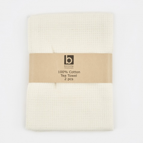 Tea Towel 'Waffle' Cotton - Pure White