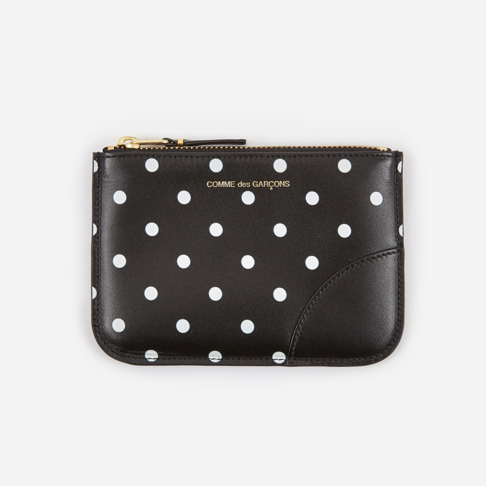 Dots Printed Leather linene zip around wallet Comme Des Gar?ons