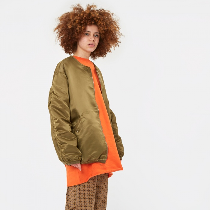 Stand Alone Raw Edge Long Bomber Jacket - Khaki (Image 1)