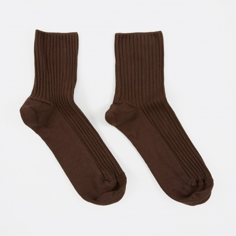 Rib Ankle Socks - Dark Brown