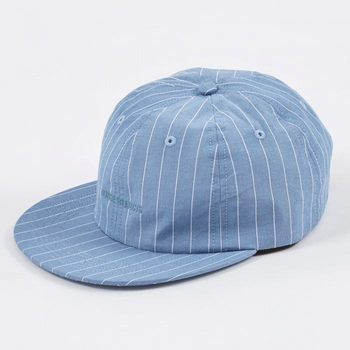 Norse Projects 6 Panel Fine Stripe Flat Cap - Sky Blue (Image 1)