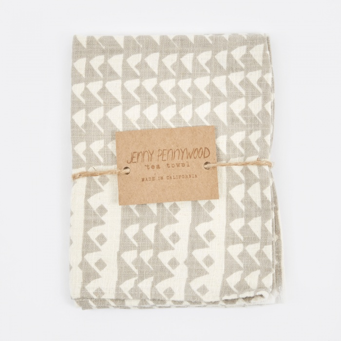 Jenny Pennywood Triangles Tea Towel - Flax (Image 1)