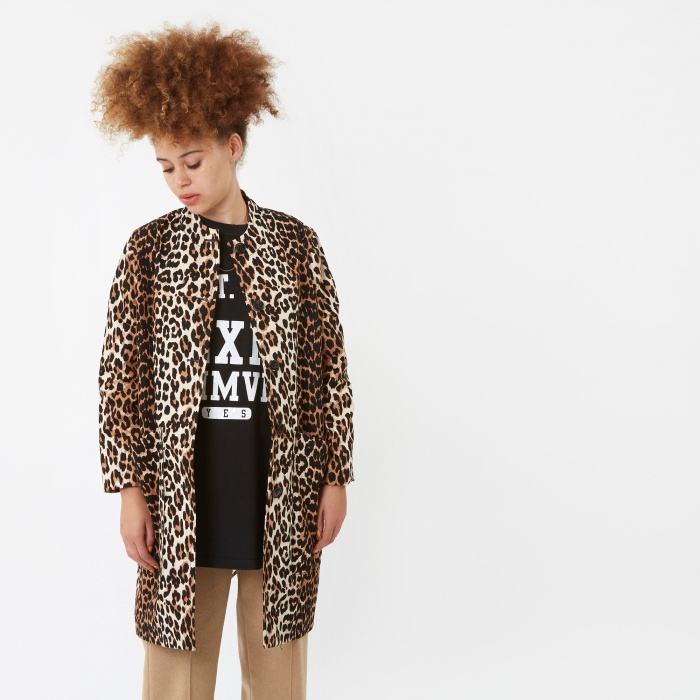 Ganni Fabre Cotton Coat - Leopard (Image 1)