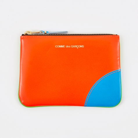Comme Des Garçons Super Fluo Small Pouch In Blue,orange,neon