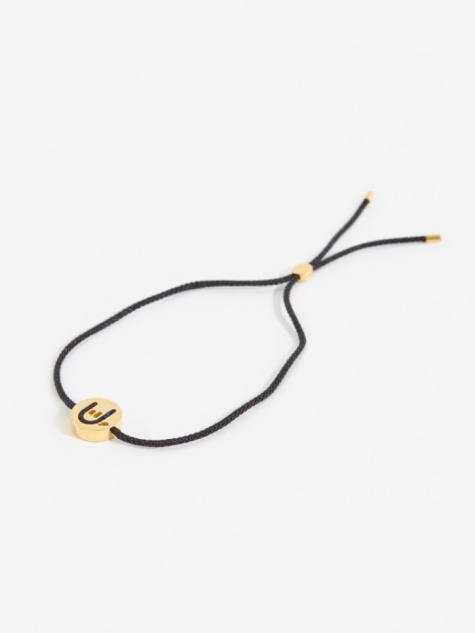 Black Cord Hands Up Rock On Bracelet - 18K Yellow Gold P