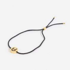 Ruifier Black Cord Hands Up Rock On Bracelet - 18K Yellow Gold P