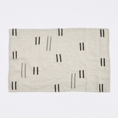 Oaxaca Grey & Black Dashes Classic Tea Towel