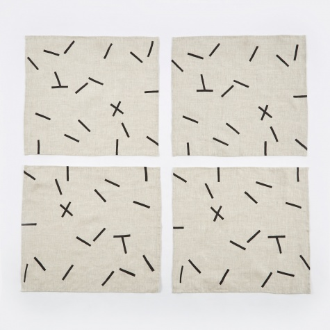 Pick Up Sticks Black Dashes Napkins - Set of 4