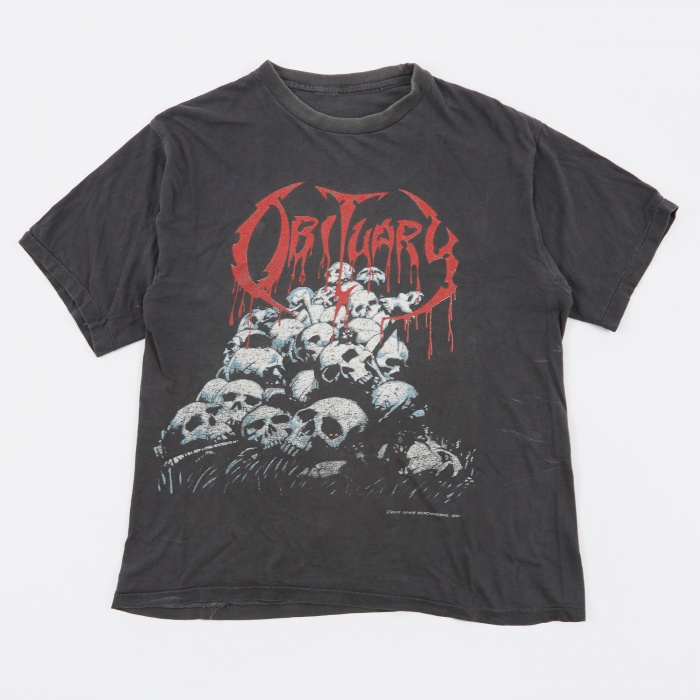 Goodhood x Teejerker Obituary 1991 Pile of Skulls T-Shirt - Black (Image 1)