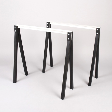 Split Trestle Black Stained Pair - Ash Wood/Black