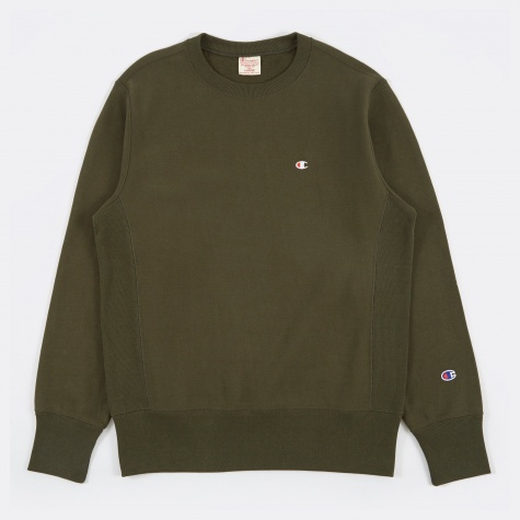 Reverse Weave Crewneck Sweatshirt - Forest Green