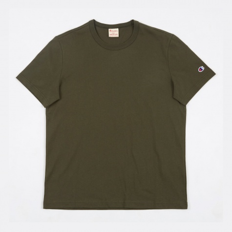 Reverse Weave Crewneck T-Shirt - Forest Green