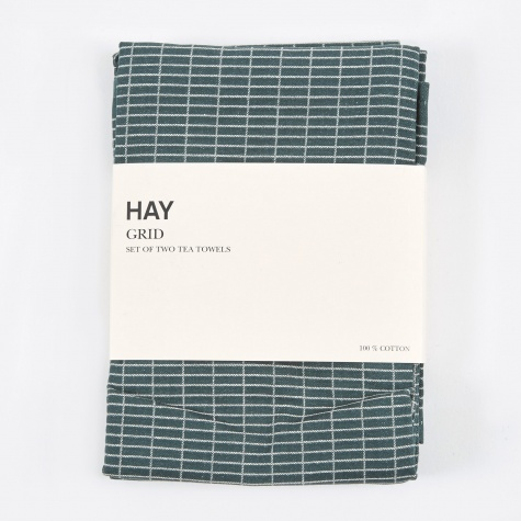 Tea Towels Grid Green - Set of 2