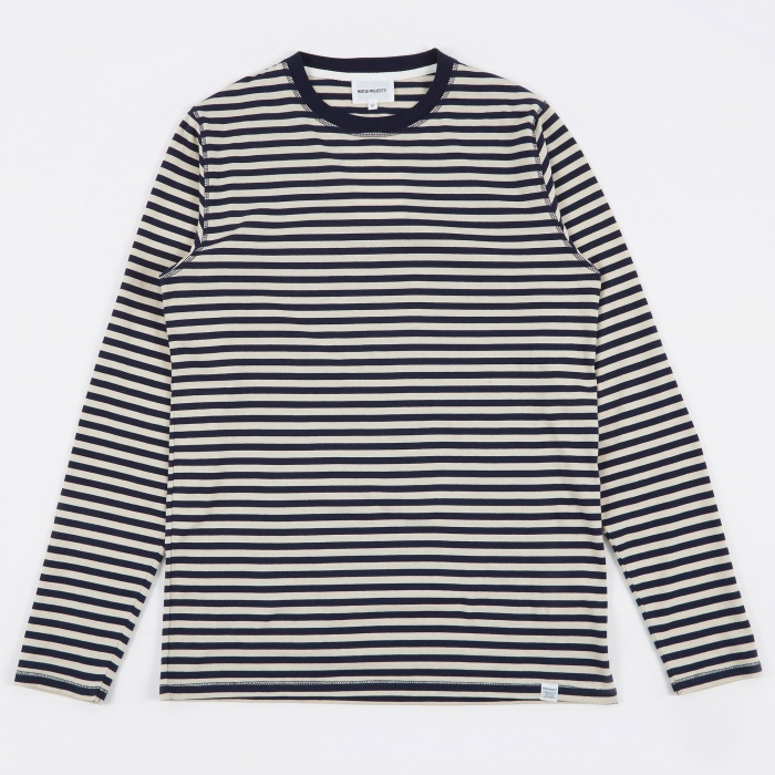 Norse Projects Svali Military Stripe T-Shirt - Kit White/Navy (Image 1)