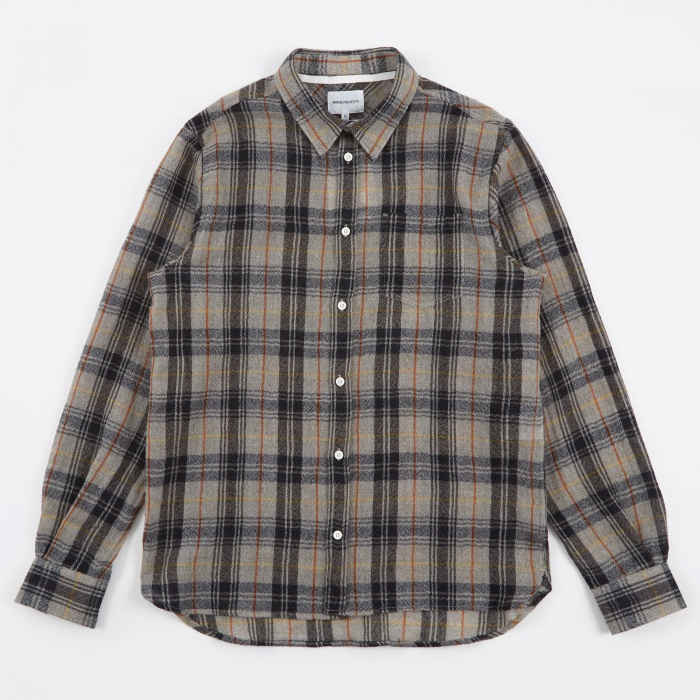Norse Projects Hans Loose Weave Gauze Shirt - Mouse Grey Melange (Image 1)