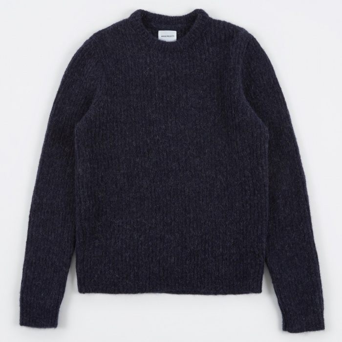 Norse Projects Arild Brushed Alpaca Knit - Navy (Image 1)