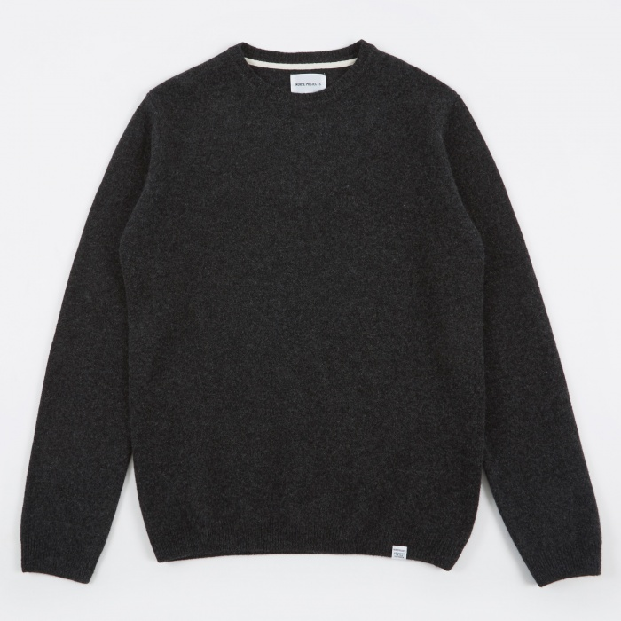 Norse Projects Sigfred Lambswool Knit - Charcoal (Image 1)