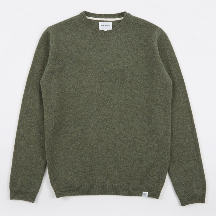 Norse Projects Sigfred Lambswool Knit - Dried Olive (Image 1)