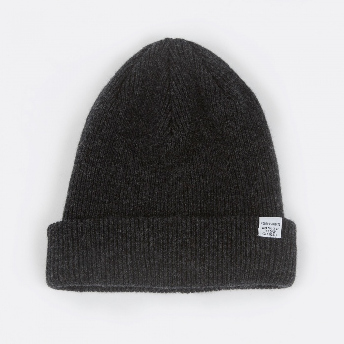 Norse Projects Norse Beanie - Charcoal Melange (Image 1)