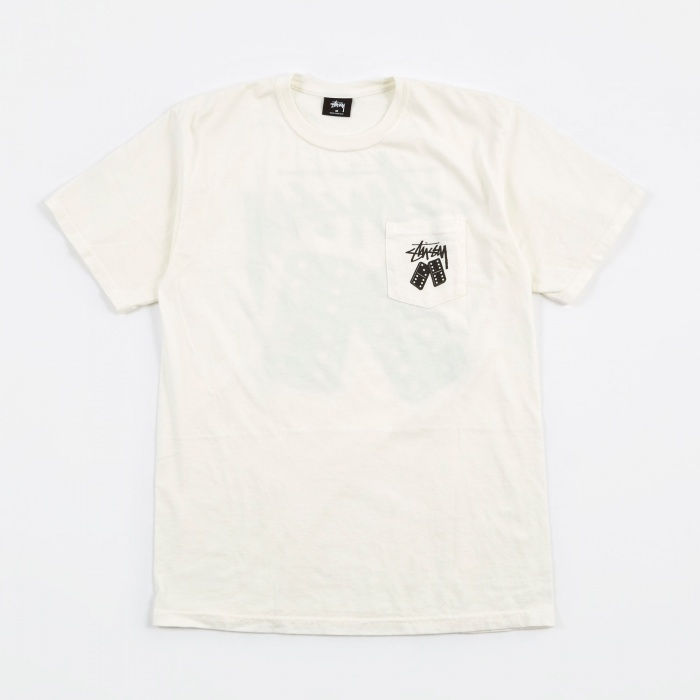 Stussy Dominos Pigment Dyed Pocket T-Shirt - Natural (Image 1)