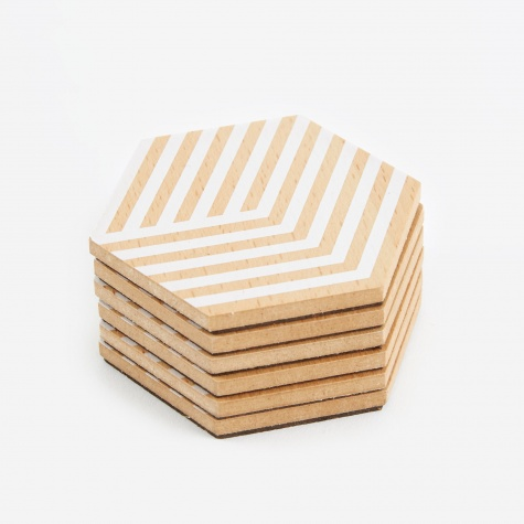 Table Tiles Optic Coasters - White