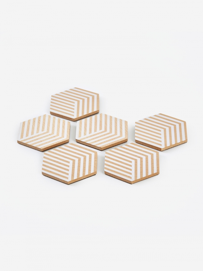 Areaware Table Tiles Optic Coasters - White (Image 1)