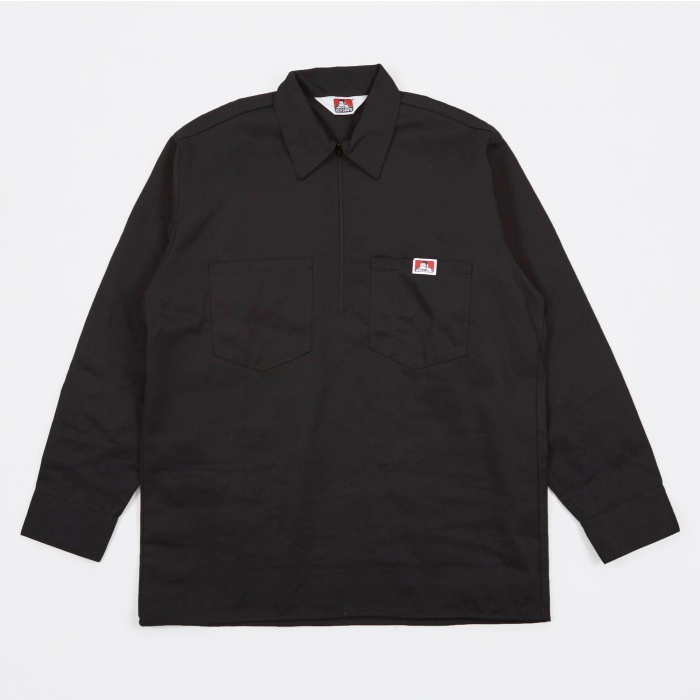 Ben Davis Long Sleeve Half Zip Work Shirt - Black (Image 1)