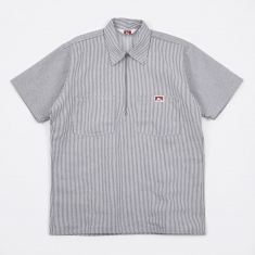 Ben Davis Half Zip Work Shirt - Hickory Stripe