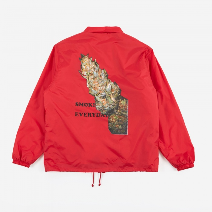 Wacko Maria Boa Coach Jacket Smoke Everyday (Type-2) - Red (Image 1)