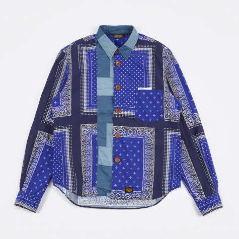 Bandana Print Broad Cloth Shirt - Blue