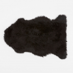 Natures Collection Long Wool Sheepskin Rug - Black