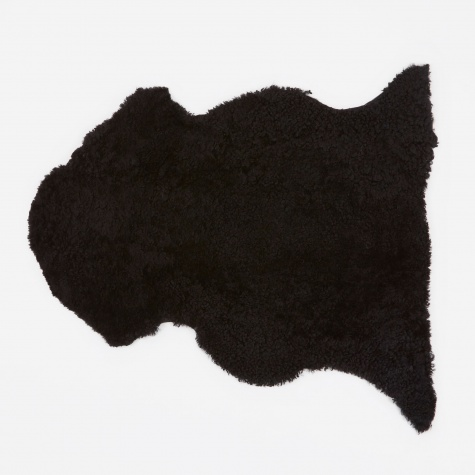 Short Curly Wool Sheepskin Rug - Black