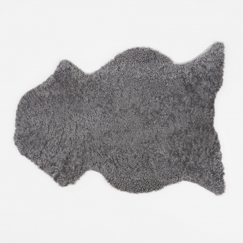 Short Curly Wool Sheepskin Rug - Light Grey