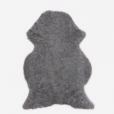 Natures Collection Short Curly Wool Sheepskin Rug - Light Grey
