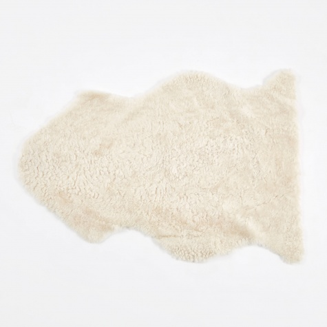 Short Curly Wool Sheepskin Rug - Pearl