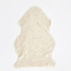 Natures Collection Short Curly Wool Sheepskin Rug - Ivory