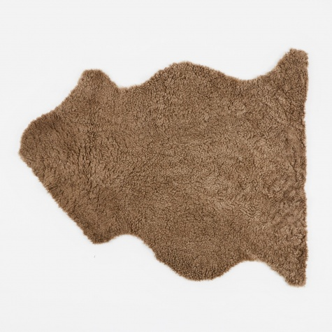 Short Curly Wool Sheepskin Rug - Taupe