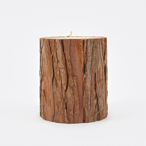 Candle With Bark 7.5x10cm