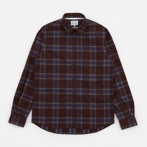 Osvald Melange Twill Check Shirt - Hematite Red