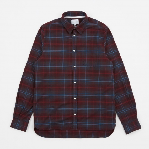 Hans Brushed Check Shirt - Hematite Red