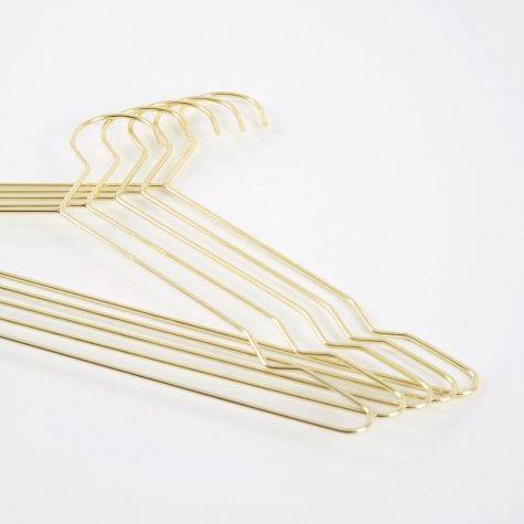 Hang Set Of 5 Hangers - Brass