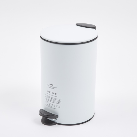 Steel Trashcan - White