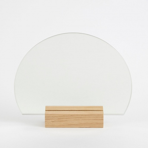 Half Moon Mirror - Oak Base