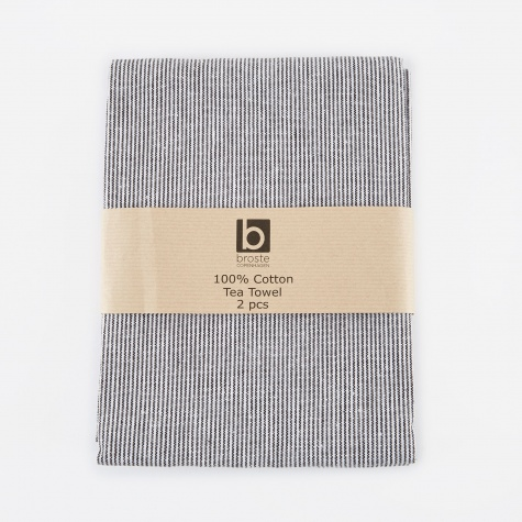 Tea Towel 'Thin Stripe' Cotton - White/Black