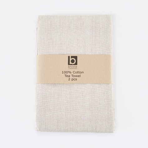 Tea Towel 'Thin Stripe' Cotton - White/Sand