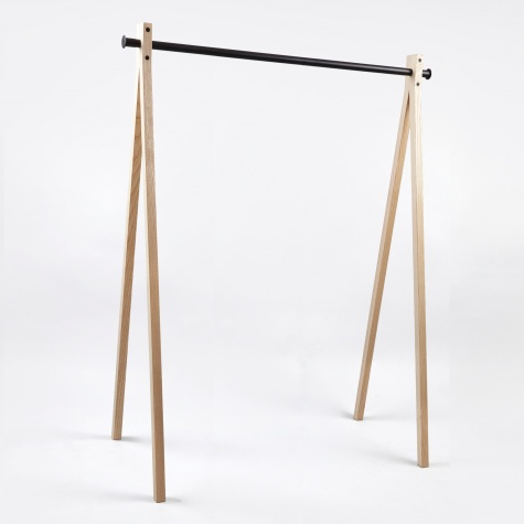 Dress-Up Garment Rack Ash Trestle/Black Bar 120cm